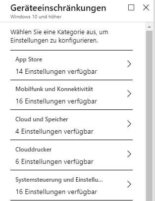 Microsoft Intune Geräteeinstellungen