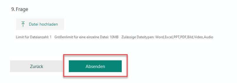 Absenden eines ausgefüllten Formulars mit Microsoft Forms