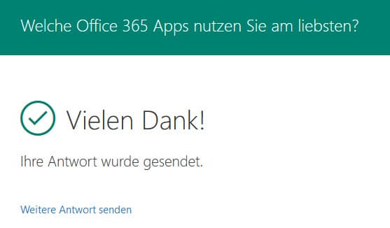 Erfolgreiches ausfüllen eines Formulars mit Microsoft Forms