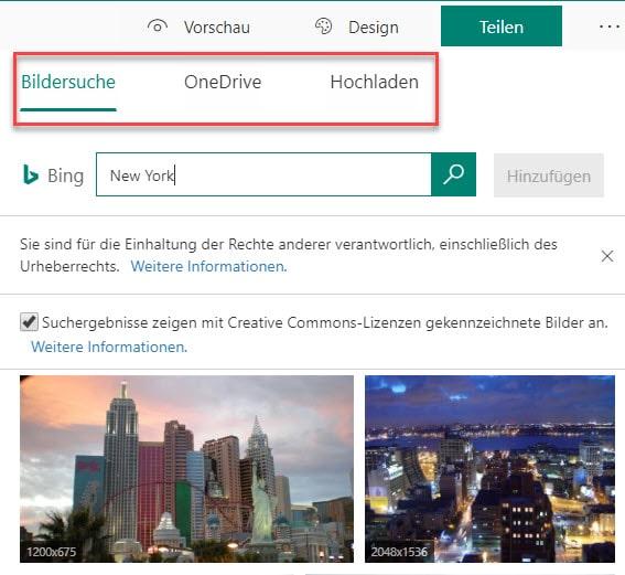 Bildersuche in Microsoft Forms