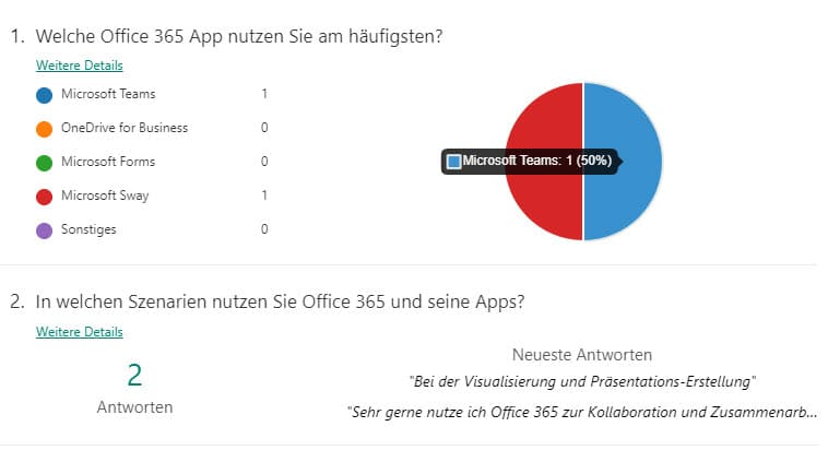 Diagramme bei Microsoft Forms