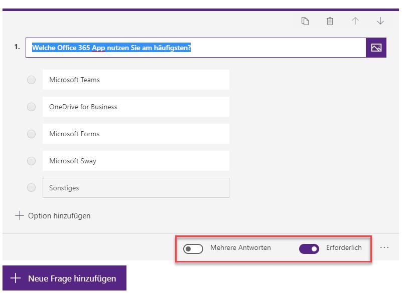 Erforderliche Antwort Microsoft Forms