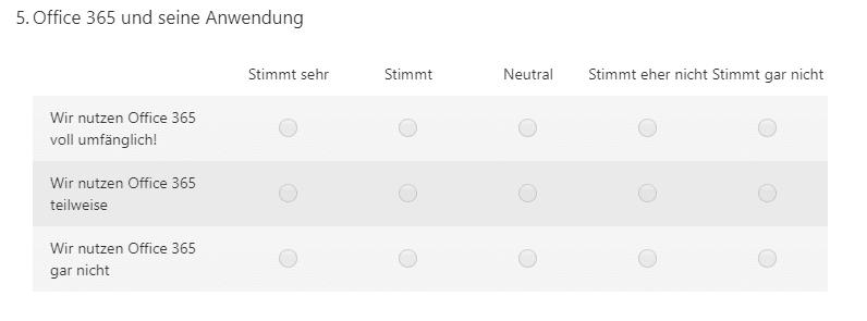 Einsatz des Likert in Microsoft Forms