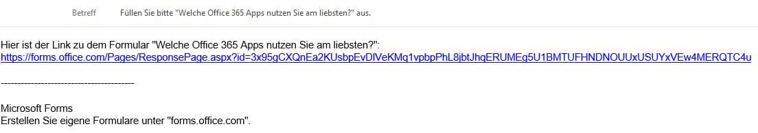 Versand eines Formulars von Microsoft Forms mit einer Mail