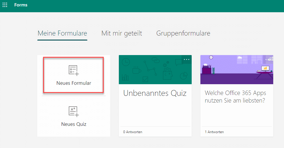 Microsoft Forms Neues Formular