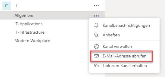 Microsoft Teams Mail Verschicken