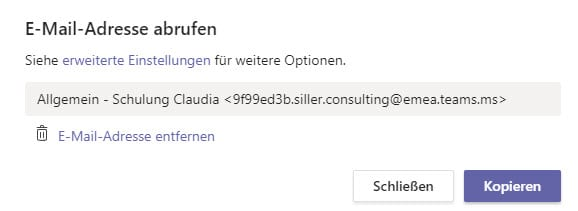 Microsoft Teams Mailadresse abrufen