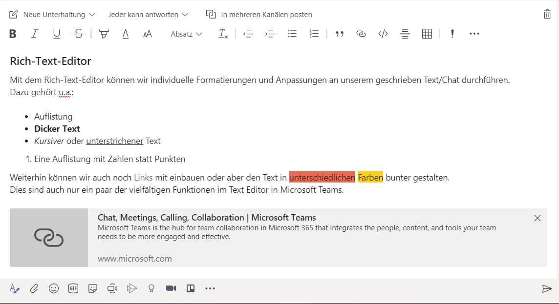 Microsoft Teams Texteditor