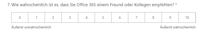 Net Promoter Score Microsoft Forms