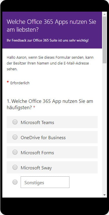 Microsoft Forms am mobilen Endgerät