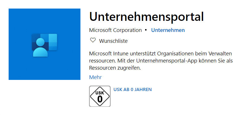Intune Unternehmensportal Windows 10 App Store
