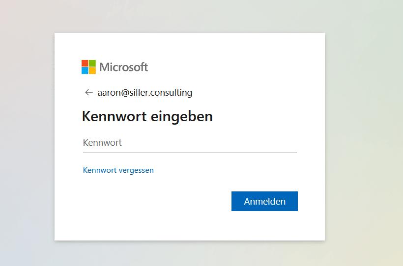 Microsoft-365-Passworteingabe