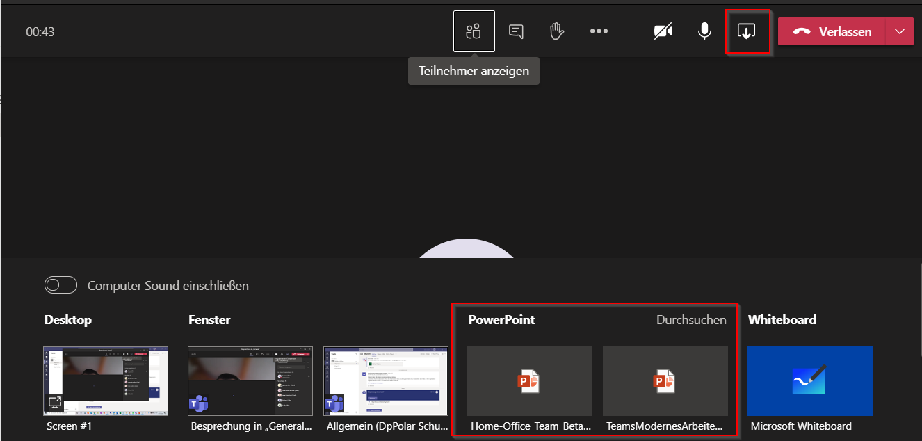 Microsoft Teams Desktop teilen
