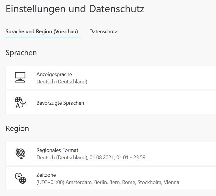 Office-365-Sprache