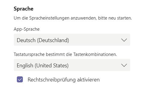 Microsoft Teams personalisieren Spracheinstellungen-Teams