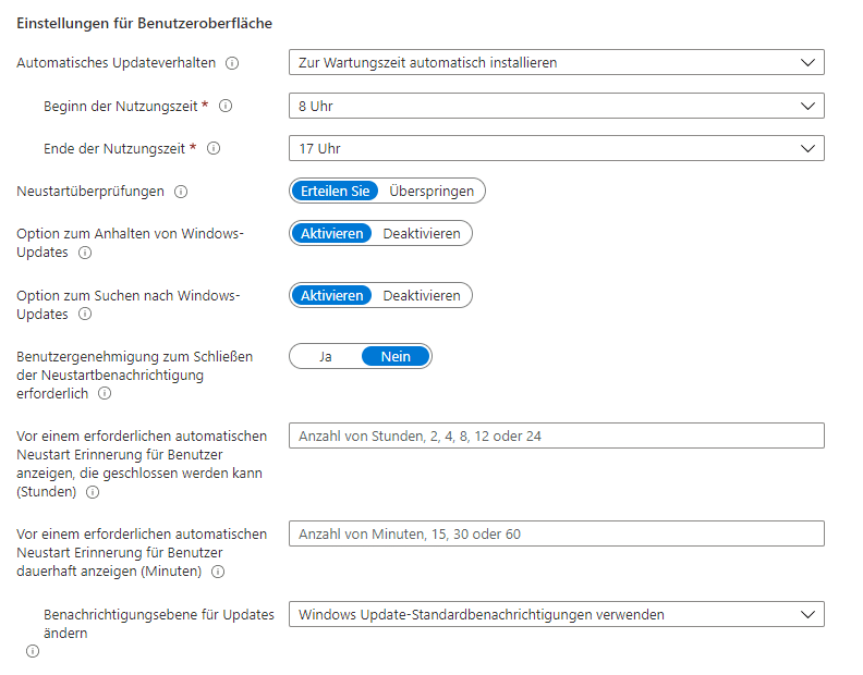 Einstellungen-Benutzeroberfläche