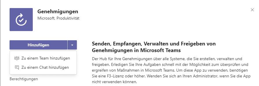 Microsoft Teams Genehmigungs-App