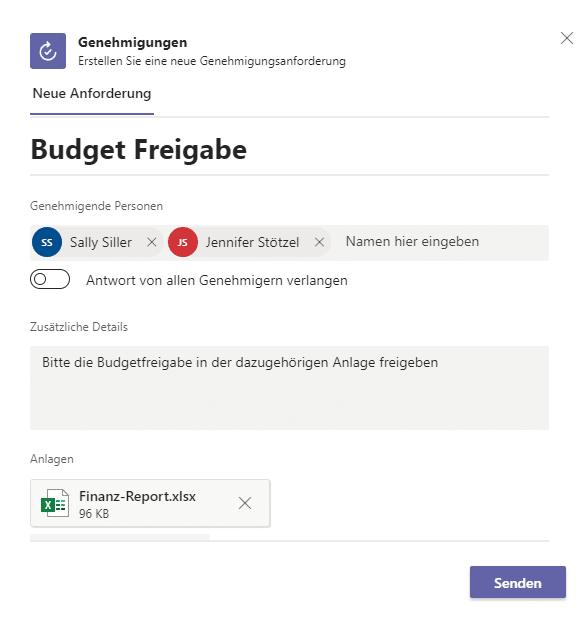 Microsoft Teams Genehmigungs-App Genehmigungs-Details