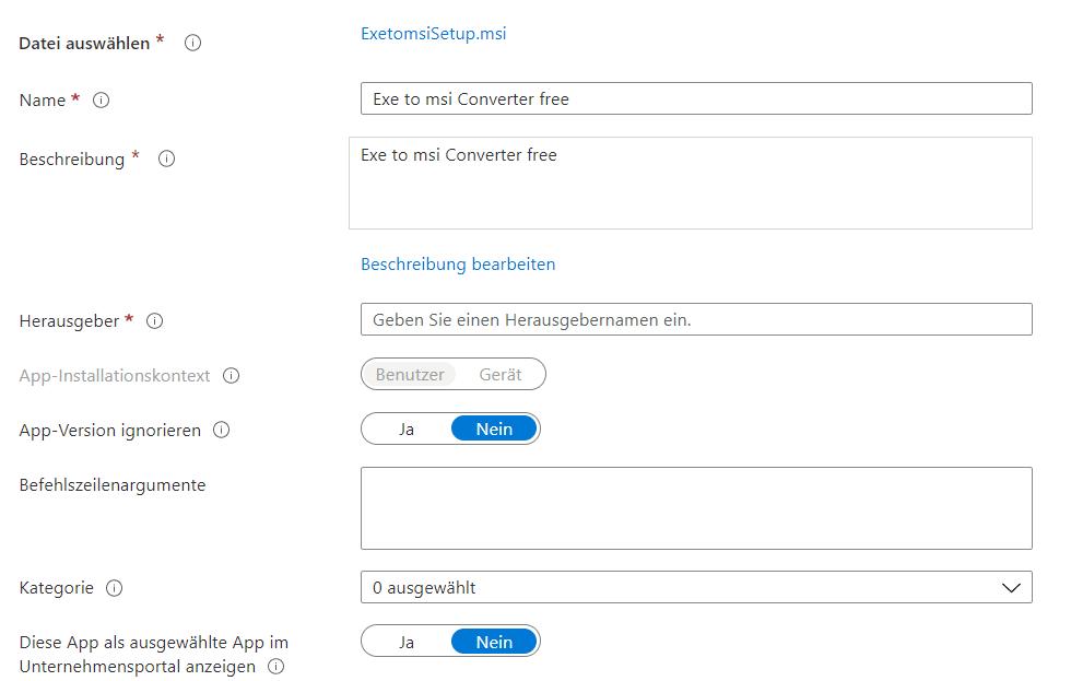 TeamViewer Microsoft Intune MSI-App-Informationen