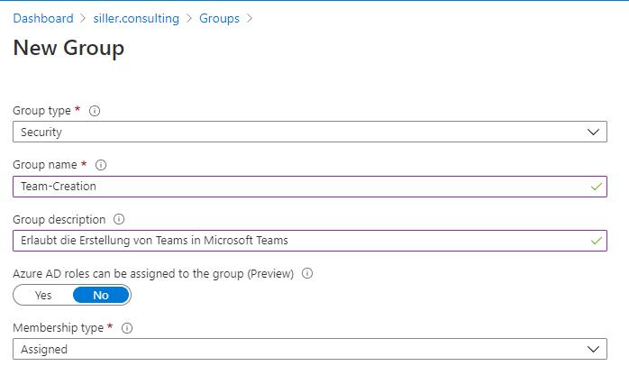 Teams Erstellung einschränken Microsoft-Teams-Sicherheitsgruppe
