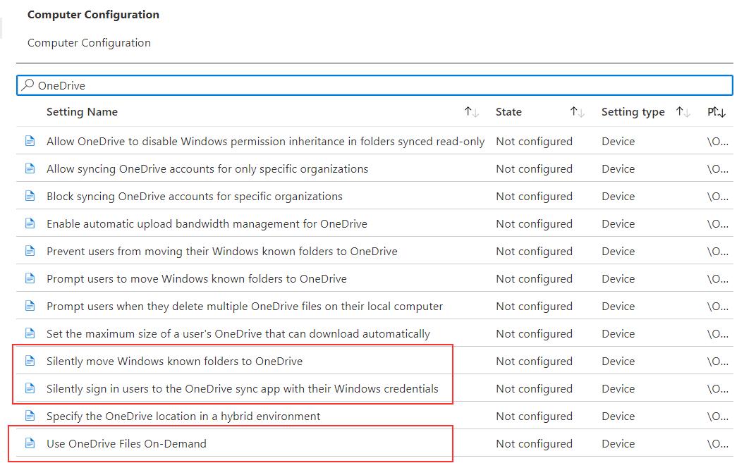 Microsoft Intune - Known Folder Move OneDrive-Intune-Einstellungen