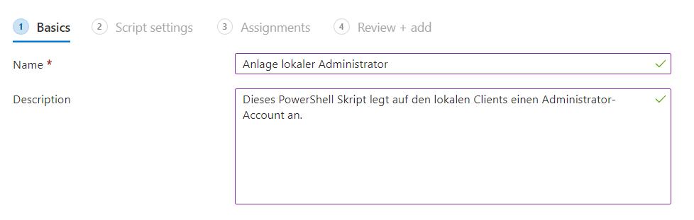 Lokaler Admin Intune PowerShell-Intune-Beschreibung