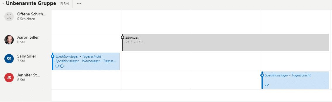 Microsoft Teams Schichten App Schichtplan-Übersicht