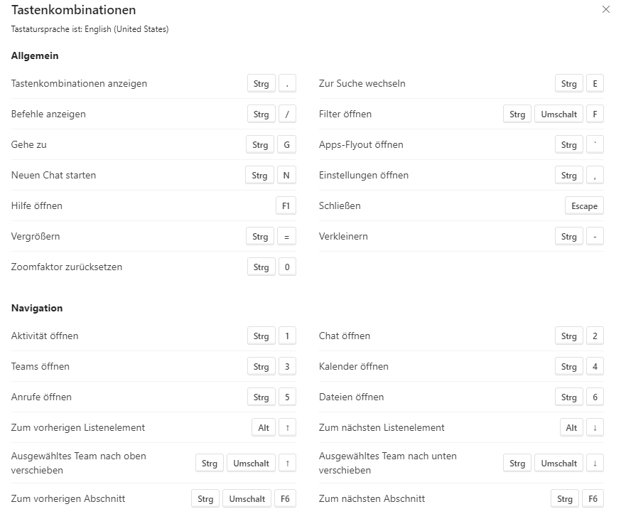 Microsoft Teams Shortcuts Tastenkombinationen-Übersicht