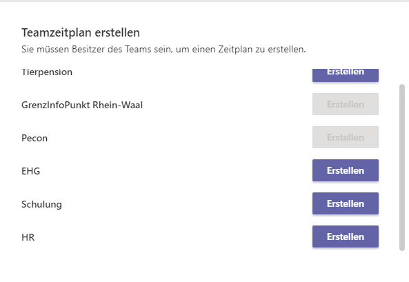 Teamplan-Schichten