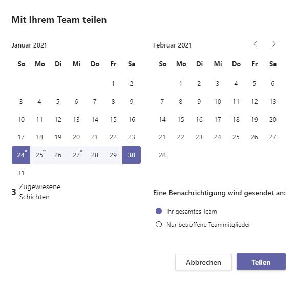 Teilungsoptionen-Teams