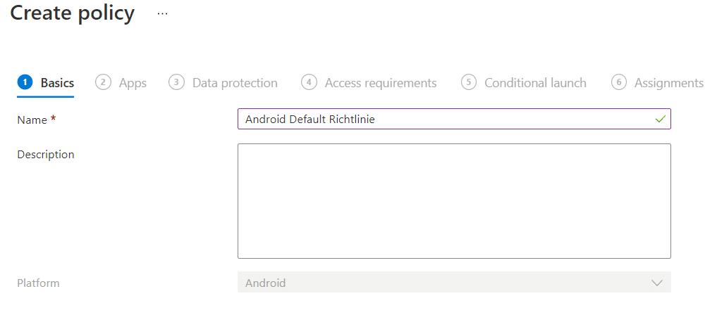 Microsoft Intune einrichten Namen-App-Konfigurationsrichtlinie