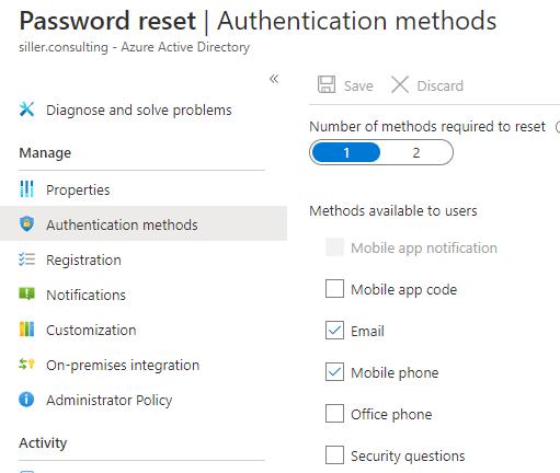 Passwort-Reset-Optionen