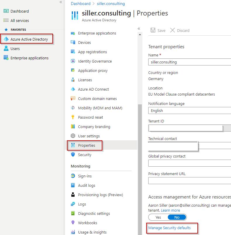Security-Defaults-Azure-Portal