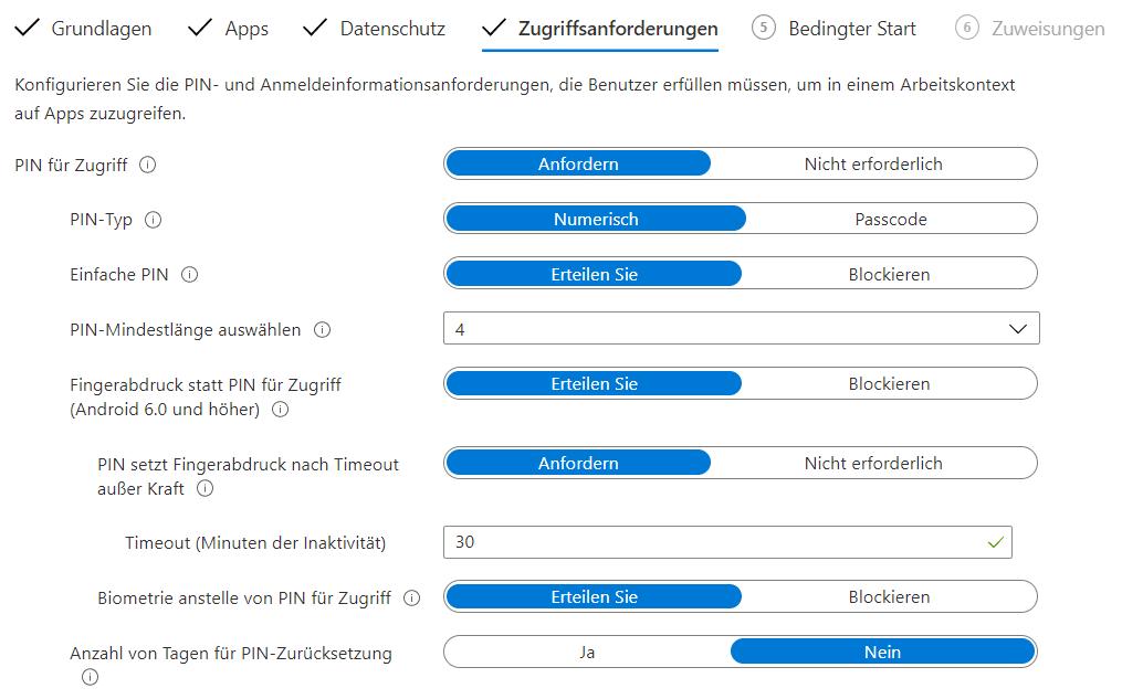 Zugriffsanforderungen-Apps-Intune