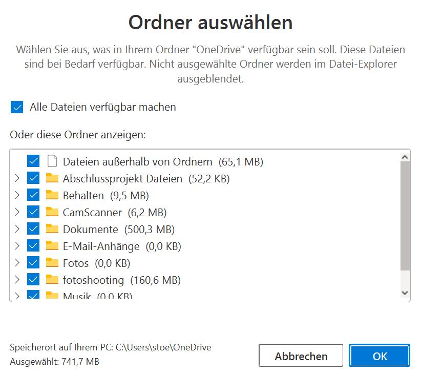 One-Drive-Order-für-Synchronisation-auswählen