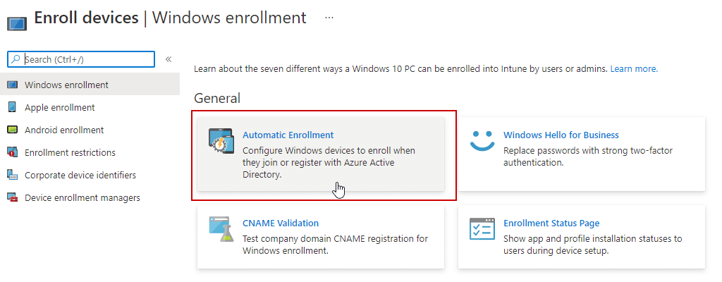Automatic-Enrollment-Intune