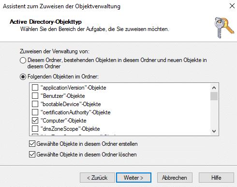Einrichtung vom AutoPilot Hybrid Join Objektverwaltung-Berechtigungen