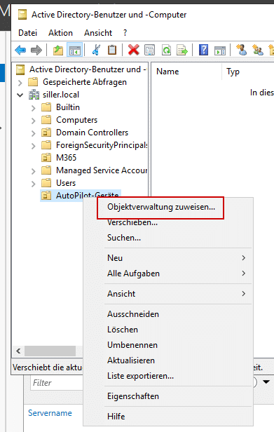 Einrichtung vom AutoPilot Hybrid Join Objektverwaltung-Intune