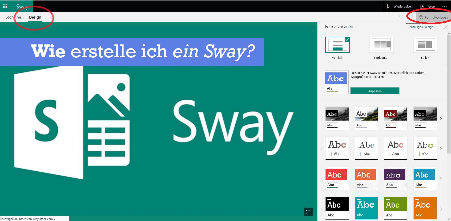 Design Menüpunkt in Microsoft Sway