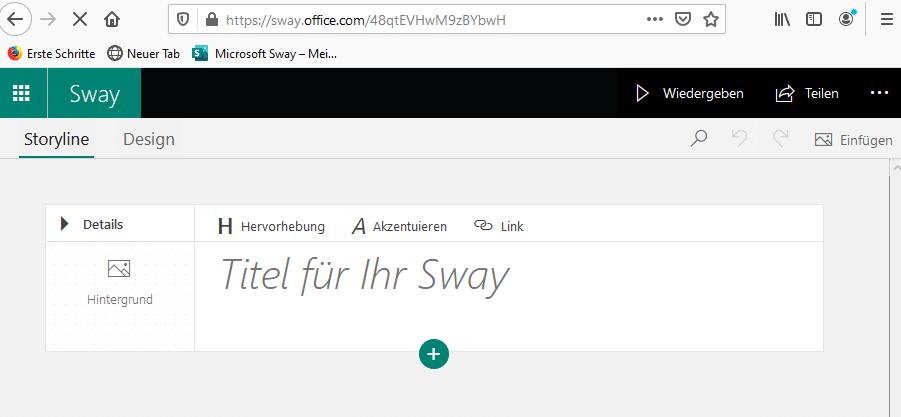 Erste Karte des Sways für die Eingabe des Titels oder der Überschrift