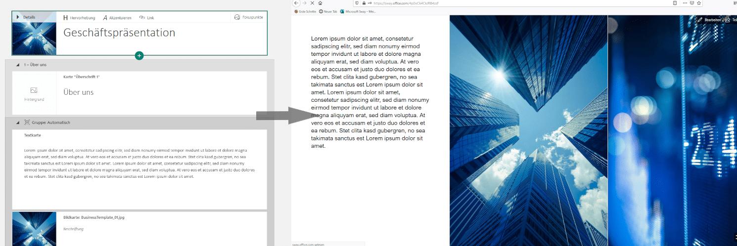 Transformation der Microsoft Sway Vorlage zu einer Präsentation