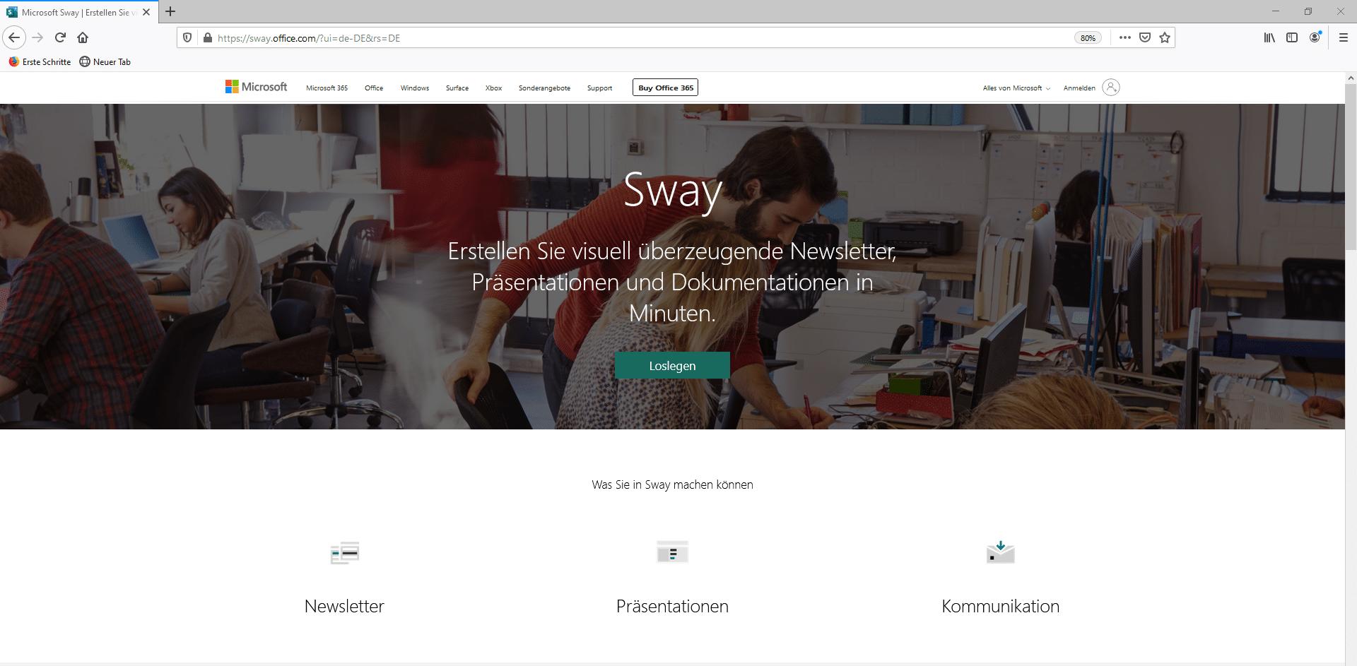 Die Landingpage von Microsoft Sway