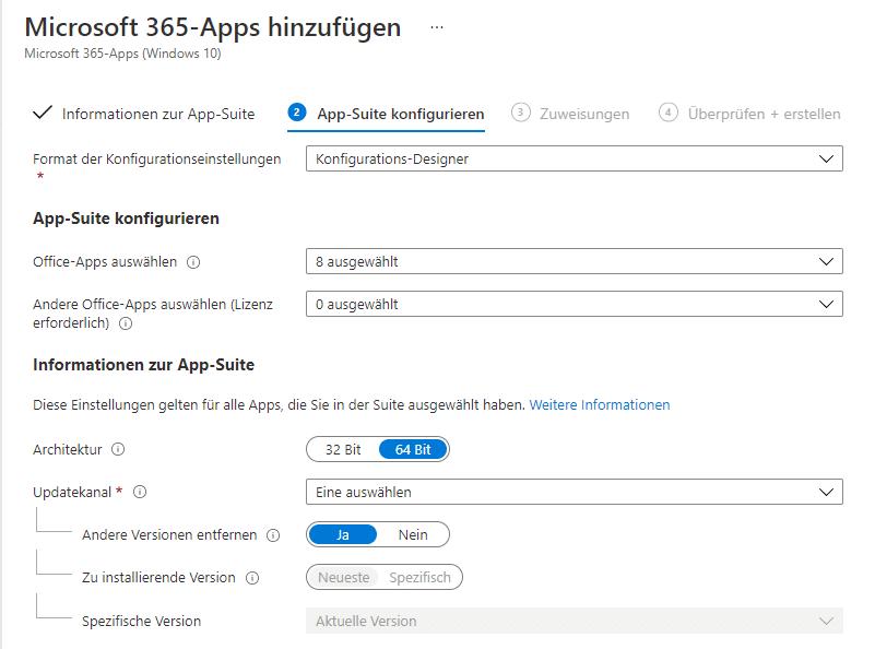 Anpassung der Office 365 Suite im Intune