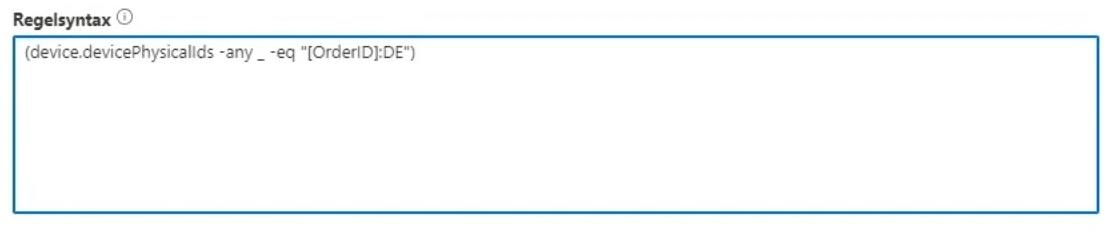 Regelsyntax die nach bestimmten Gruppentag filtert