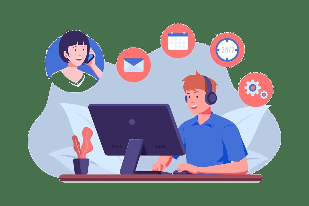 Support hilft Kunden telefonisch