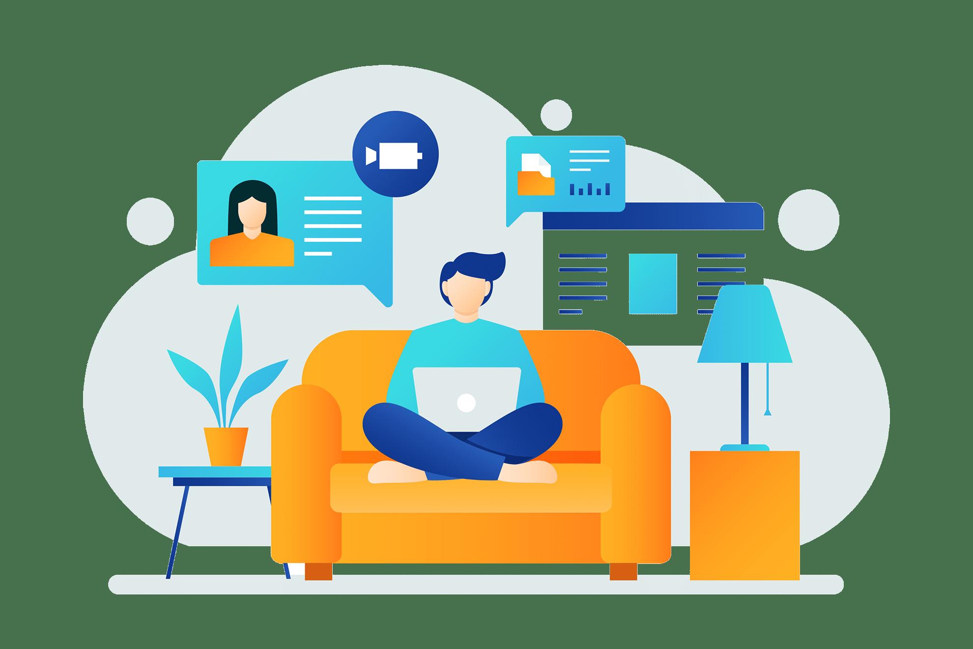 Arbeit von der Couch aus mit Microsoft 365