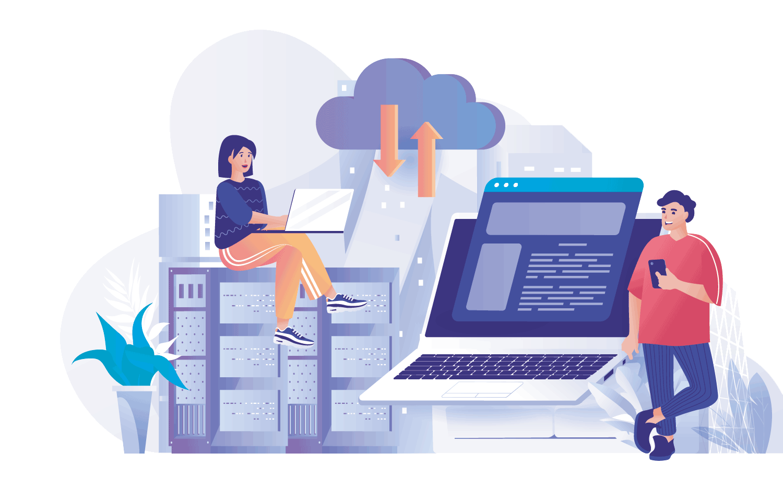 Abbildung zur Funktion der Cloud mit Server und PC