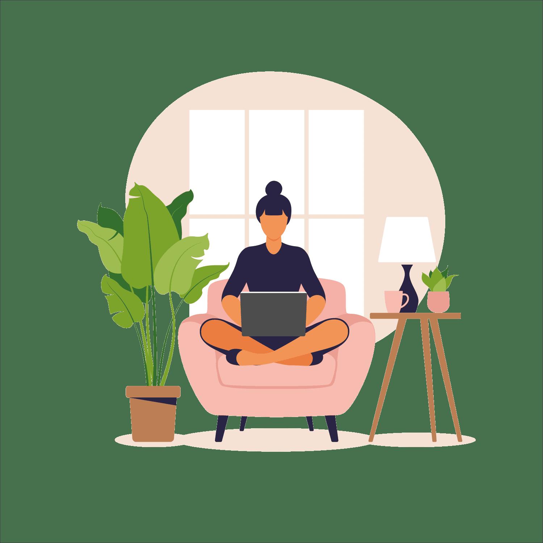 Sitzender Freelancer